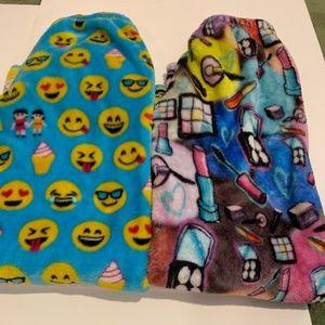 2 pair Girls fuzzy pajama pants size 6 NEW